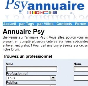 Annuaire Psy : capture d'écran