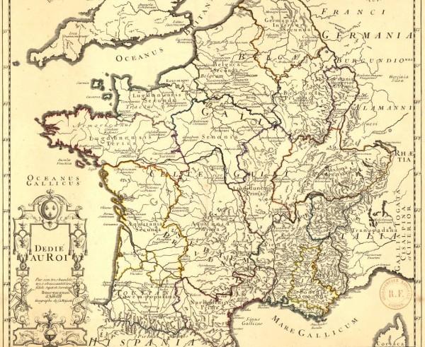 La Gaule ancienne, Dédié au Roi, par son très humble et très fidèle sujet et serviteur Bourguignon d'Anville, géographe de sa Majesté 1719.