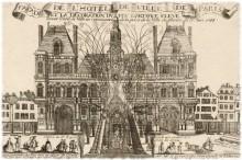 Façade de l'hôtel de ville de Paris et la décoration du feu d'artifice élevé devant l'hôtel de ville en réjouissance de la prise de la ville de Menin le 17 juin 1744